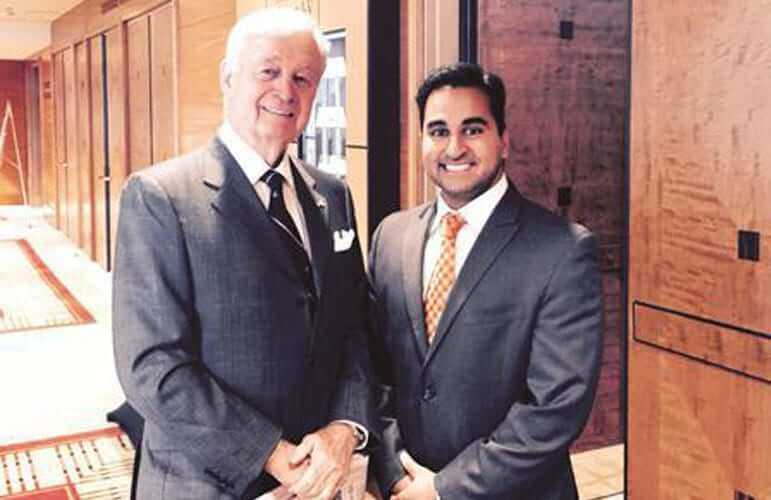 Photo of Dr Deepak Dugar, a top plastic surgeon california together with his mentor Dr. Eugene Tardy