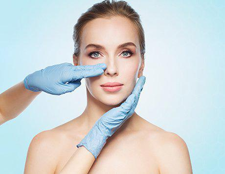 Face of a female patient who will undergo red carpet laser facial being examined by a top plastic surgeon in Beverly Hills
