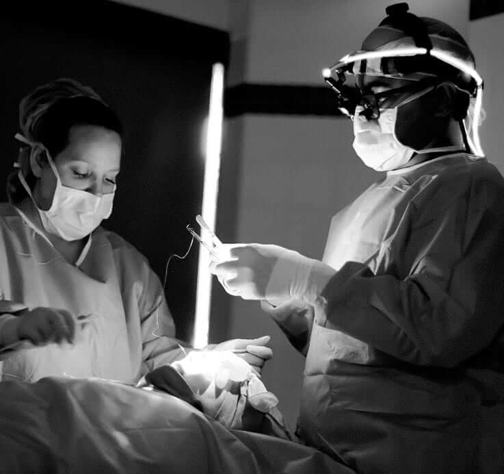 best nose surgeon in beverly hills with a plastic surgery nurse doing a bulbous nose job
