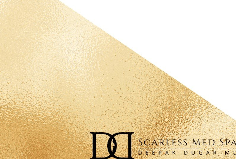 gold and white background photo and on the lower right is the Scarless Med Spa Logo