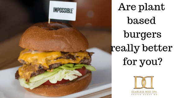 """plant-based burger with the text """"Are plant based burgers really better for you?"""