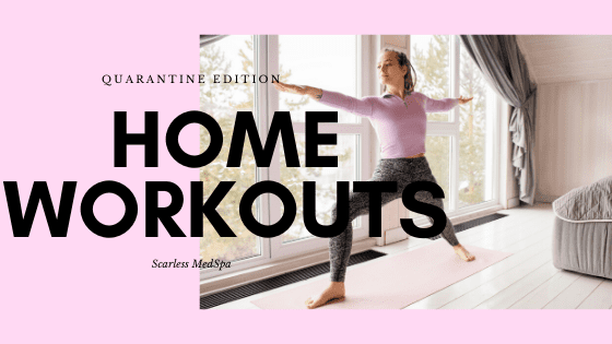 "a woman exercising at home as a background image to the text ""home workouts"""