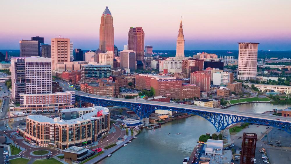 buildings and bridge in Cleveland, Ohio