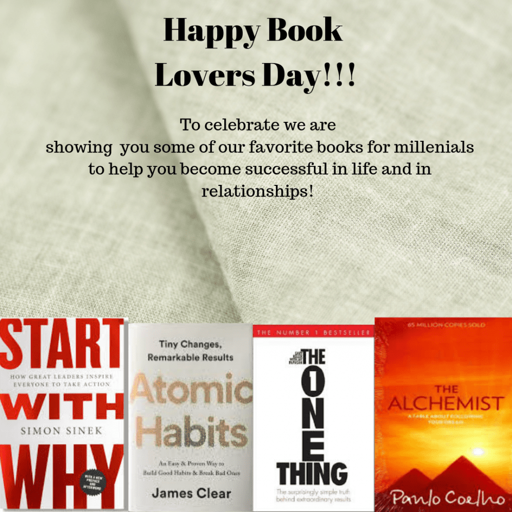 "four books that are good to read and above them are the text""Happy Book Lovers Day"""
