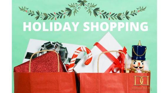 "holiday poster by Scarless Med Spa with the text ""HOLIDAY SHOPPING"""
