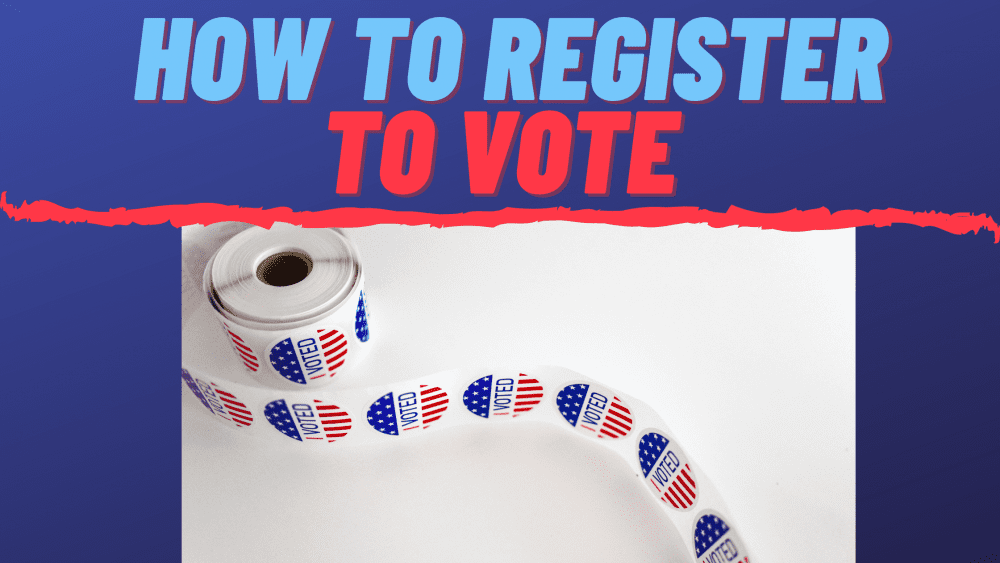 "rolling voting stamps as background image to the text ""how to register to vote"""