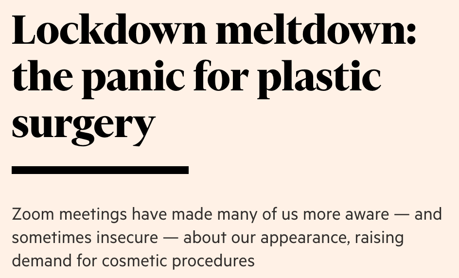 statement about LockDown Meltdown: The Panic for Plastic Surgery