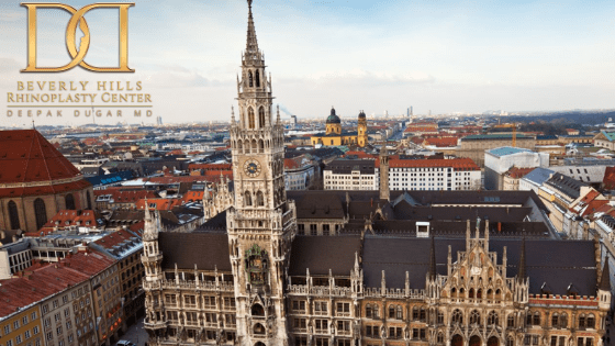 Marienplatz clock town in downtown, view from top of tower with cityscape view