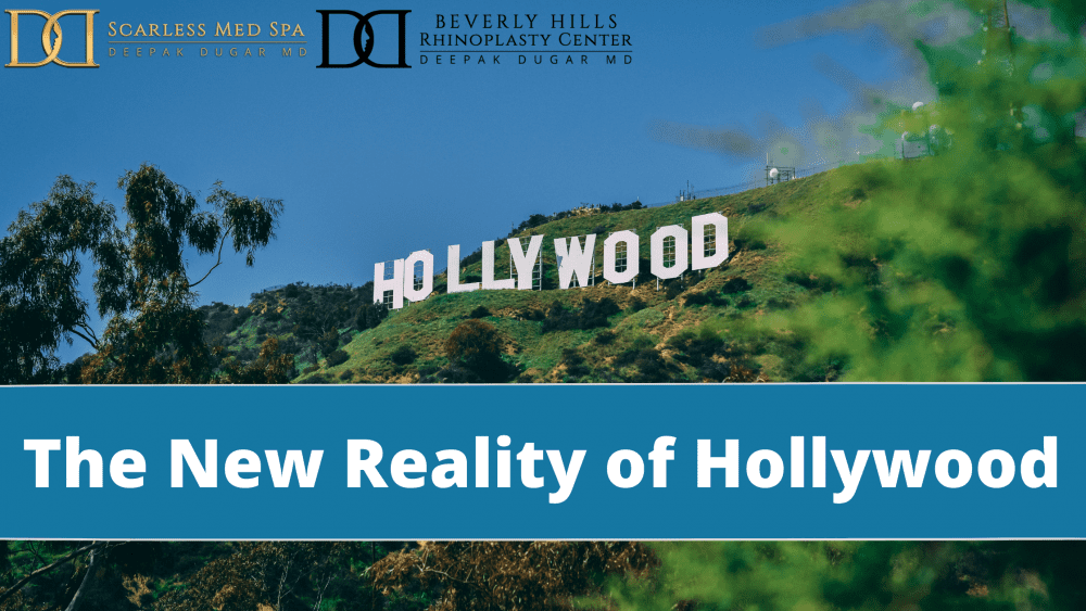 "famous hollywood sign in Beverly Hills with a text ""The New Reality of Hollywood"""