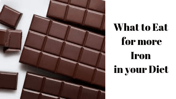 "chocolate with a text beside ""what to eat for more iron in your diet"""