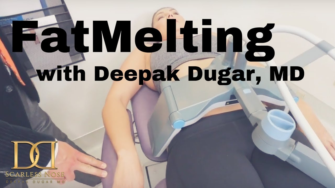 a female patient undergoing a non-surgical fat melting