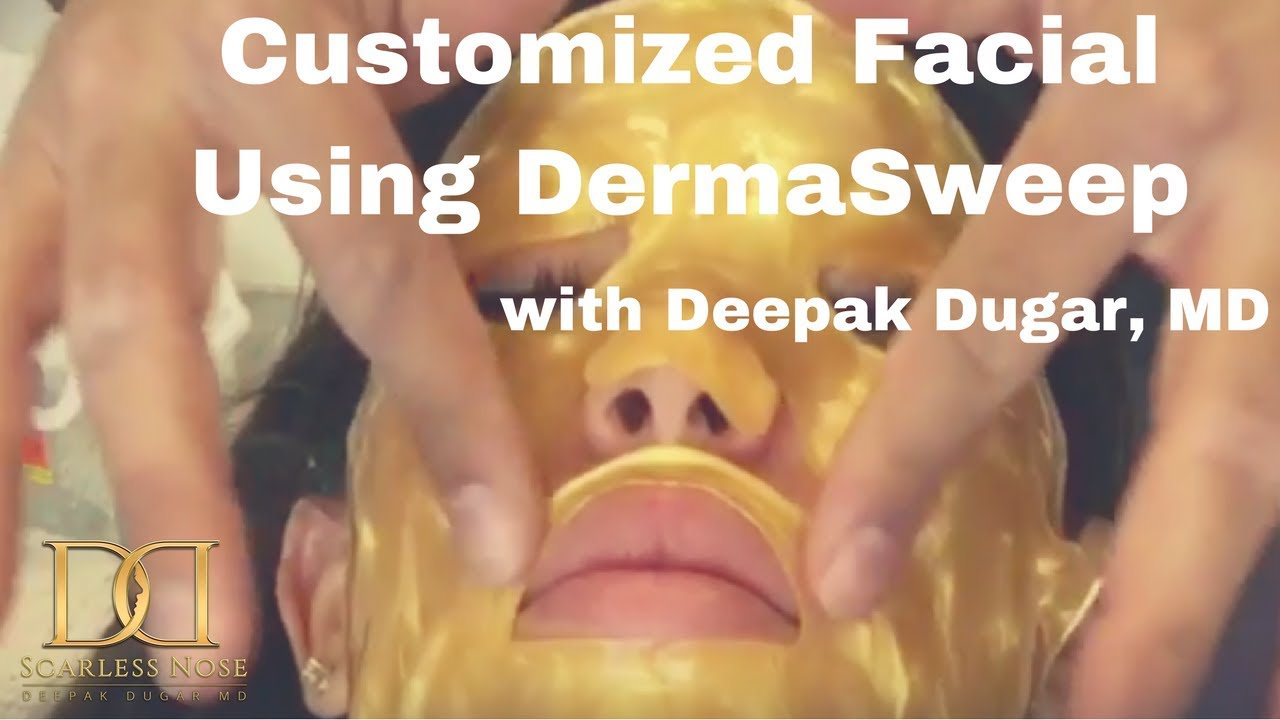 Youtube thumbnail of Dr Dugar's video about customized facial using DermaSweep