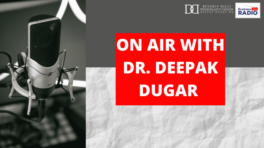 "business talk radio poster with the text ""On air with Dr. Deepak Dugar"""