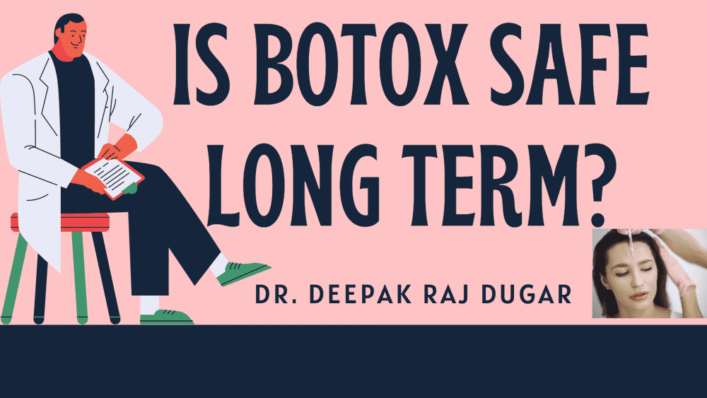 "illustration of plastic surgeon reading labs beside the text ""Is Botox safe long term?"""