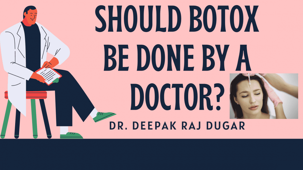 "illustration of plastic surgeon reading labs beside the text ""Should Botox Be Done By a Doctor?"""