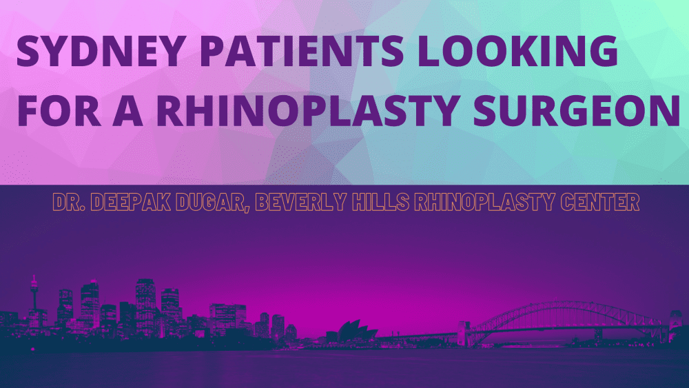 "gradient color of Sydney and above it is the text ""Sydney Patients looking for a rhinoplasty surgeon"""