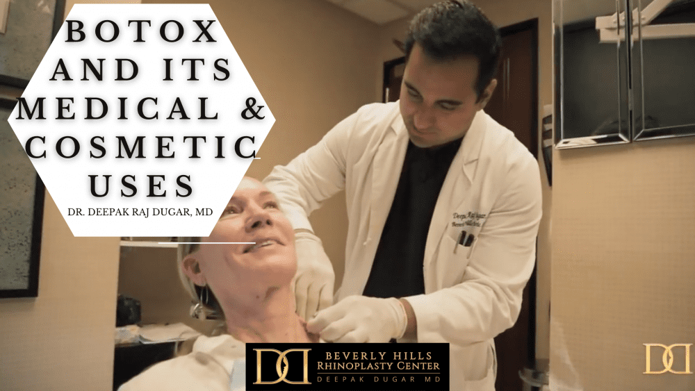 "Dr Dugar doing a non surgical neck rejuvenation to her famale patient and beside it is the text ""botox and its medical & cosmetic uses"""