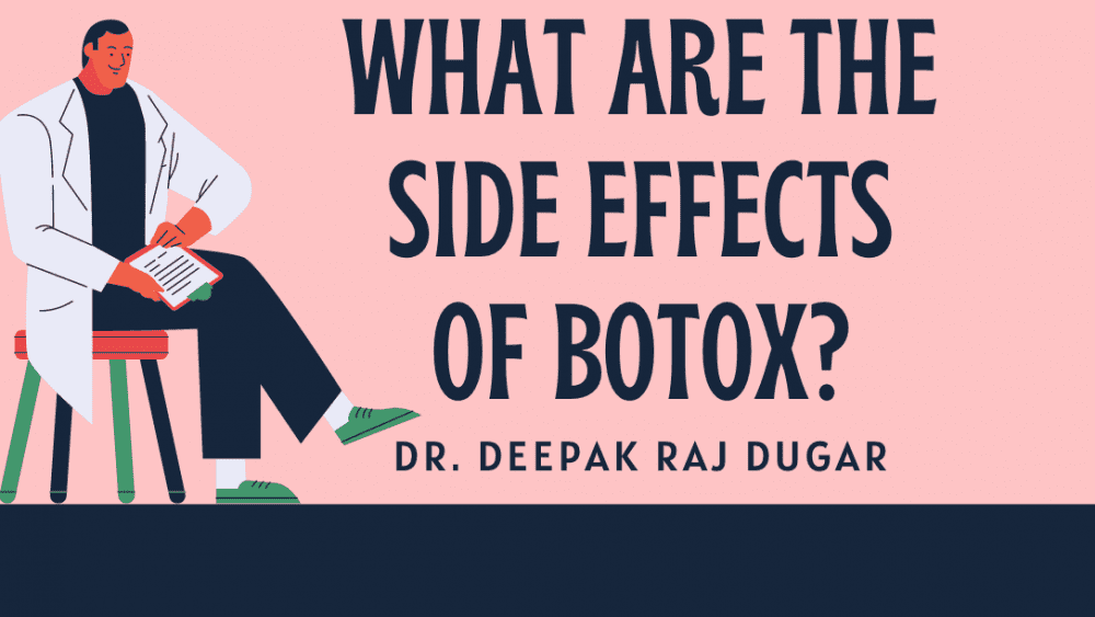 "Illustration of plastic surgeon reading labs beside the text ""What are the side effects of botox?"""