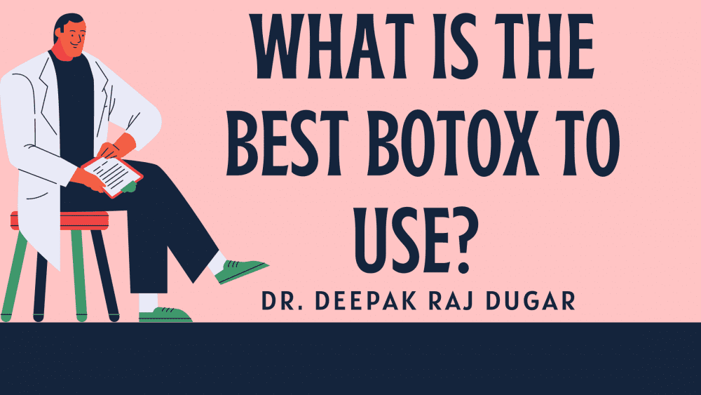 "Illustration of plastic surgeon reading labs beside the text ""What is the best botox to use?"""