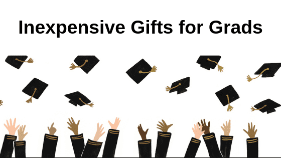 """Hands throwing graduation hats in the air with the text above """"Inexpensive gifts for grads"""""""