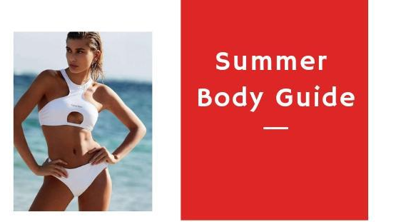 "sexy female on a white bikini attire and beside it as the text ""Summer Body Guide"""