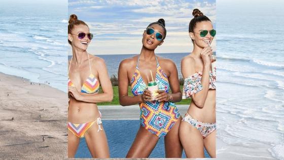 three beautiful women on a swimwear