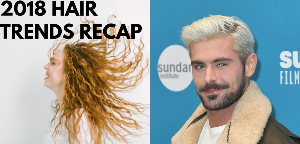 "a male and female with different hairstyle and above them is the text ""2018 HAIR TRENDS RECAP"""