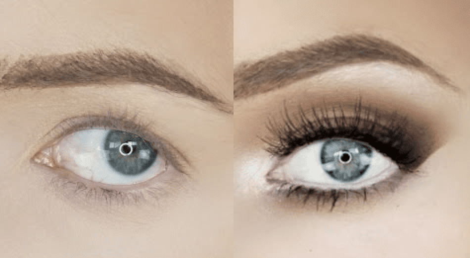 before and after close up photo of an eye after an eye lift makeup