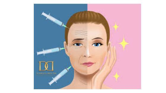 poster of a woman with a before and after illustration after botox