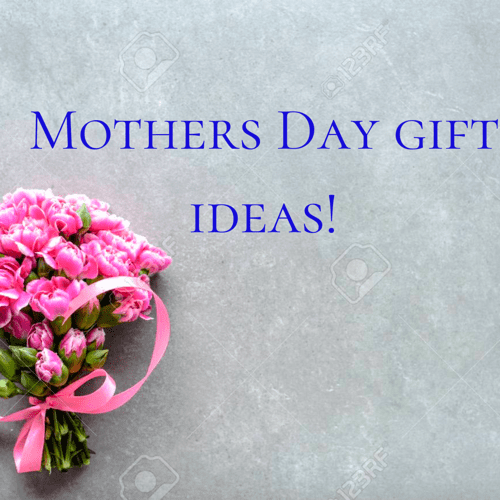"Bouquet of pink flower with the text above ""Mothers Day Gift Ideas!"""