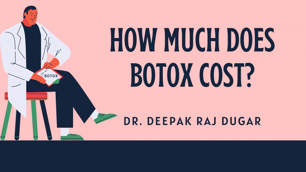 "Illustration of plastic surgeon reading labs beside the text ""How much does botox cost?"""