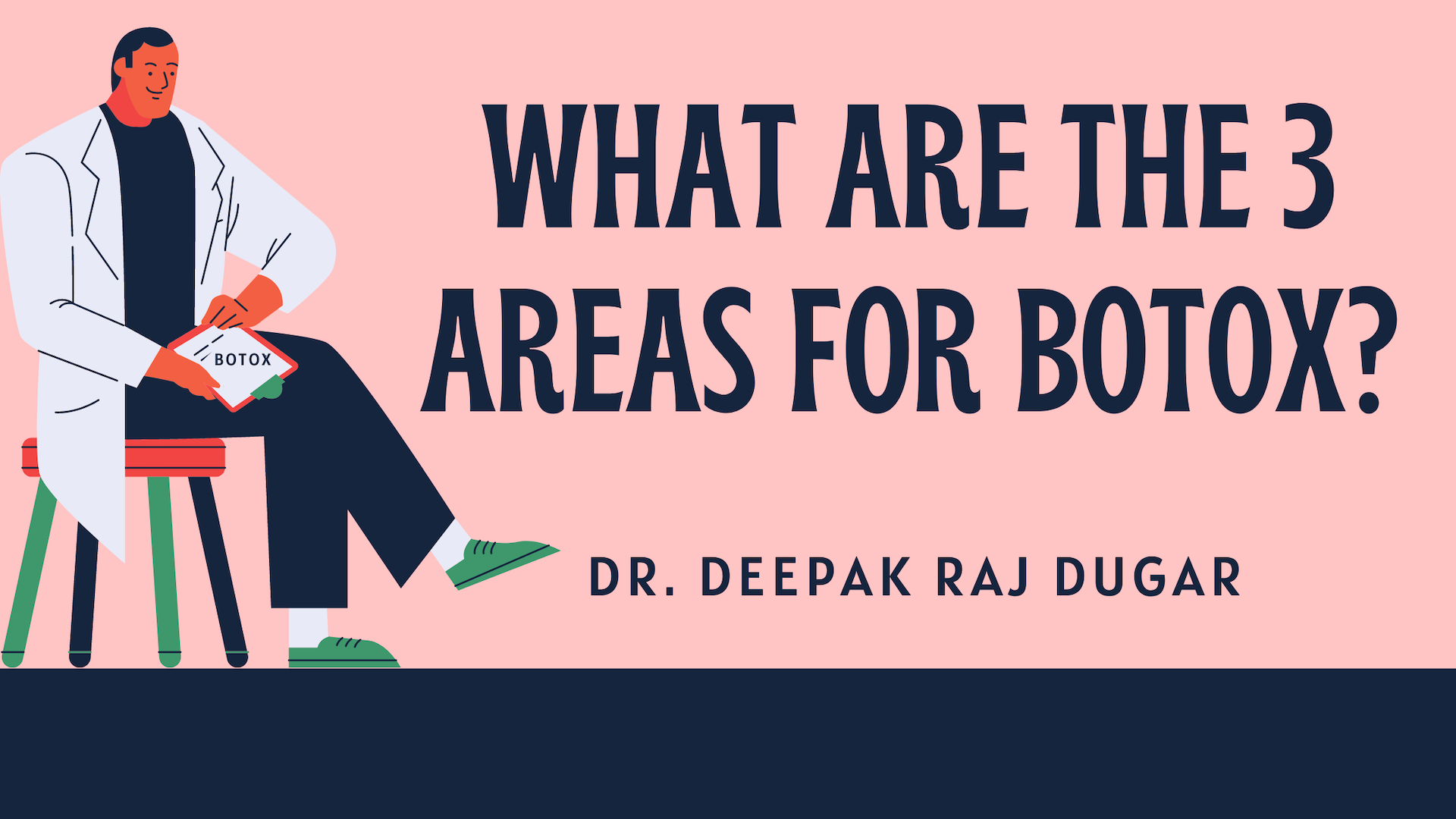"illustration of plastic surgeon reading labs beside the text ""What Are The 3 Areas for Botox?"""