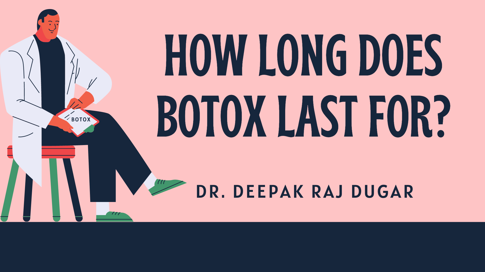 "illustration of plastic surgeon reading labs beside the text ""How Long Does Botox Last For?"""
