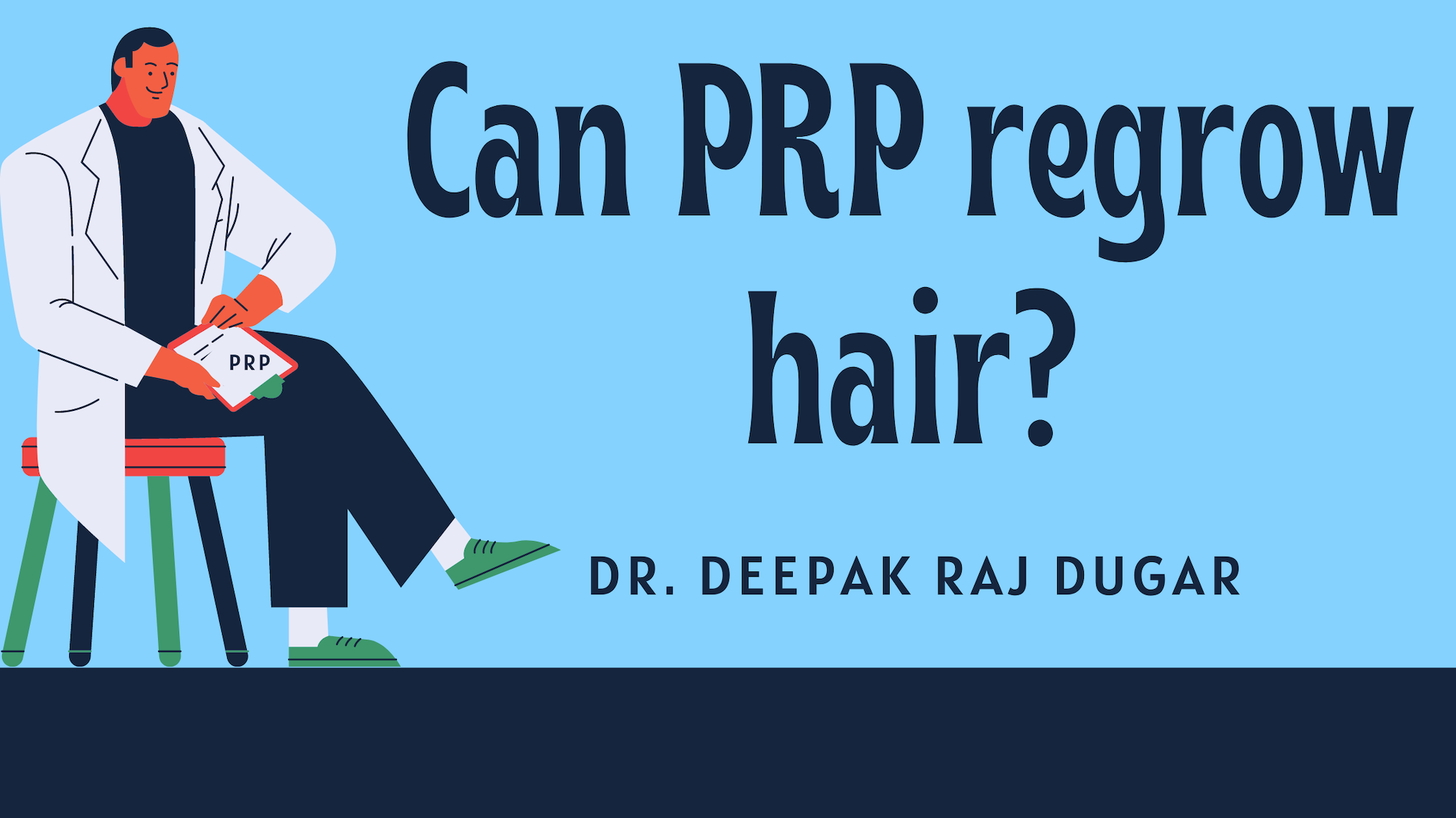 "illustration of plastic surgeon reading labs beside the text ""Can PRP regrow hair?"""