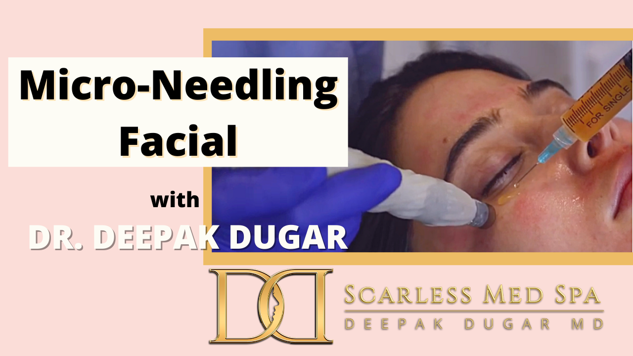 a female patient undergoing a micro needling facial